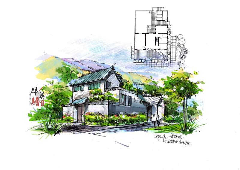广州建筑手绘地图