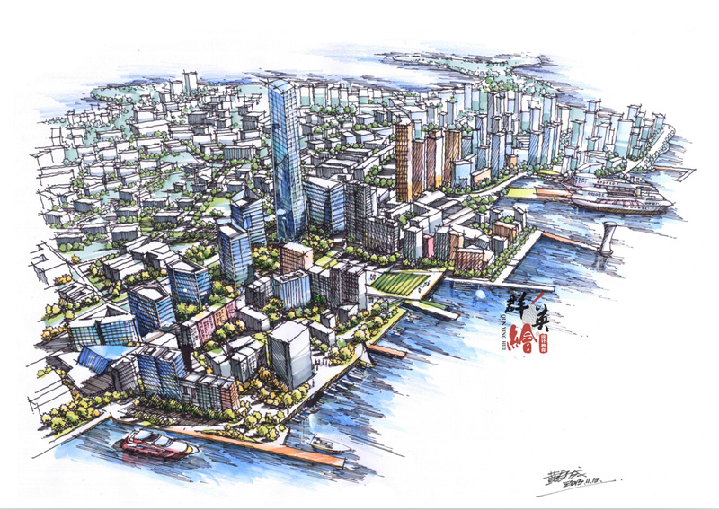 城市鸟瞰图手绘表现-教师作品